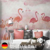 火烈鸟创意壁纸北欧风格墙纸定制无缝墙布电视背景墙大型壁画