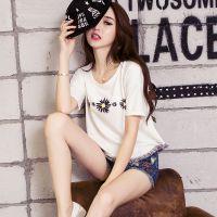 夏天小款短版短装T恤血丅女衫小衫土杉韩式短衫流苏少女宽松短袖