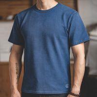 马登工装 400g植物蓝染纯棉短袖t恤阿美咔叽indigo靛蓝夏季打底衫