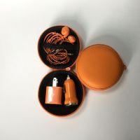 订制橙色三合一手机充电器套装