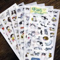 亚马逊速卖通热销创意透明pet贴纸可爱猫咪日记相册手账贴纸6张入