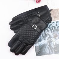 时尚男士冬季户外骑行保暖手套简约PU仿真皮加绒活动扣魔术手套