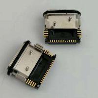 USB 3.1 TYPE-C 24PIN防水母座 四脚插板 SMT贴板式防水母座 带定位柱 黑胶