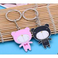 熊猫烤漆金属钥匙扣,广东促销礼品挂件制作,定做钥匙扣套装