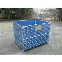 仓库折叠式铁笼标准价格、脚轮仓库周转笼、物流周转储存笼