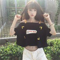漏肩夏季漏肚脐心机上衣女宽松短袖露脐装韩版学生T恤露肩一字肩