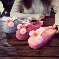 新款秋冬季高跟棉拖鞋女保暖厚底居家可爱网红小黄鸭月子鞋棉鞋