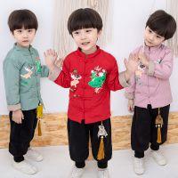新款网店代理儿童汉服 男冬季汉服套装儿童 花朵加厚卡通儿童唐装