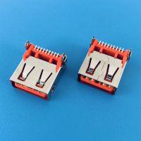 USB AF 3.0板上型后插后贴母座/9PIN/橙胶/直边无导位/贴片式SMT