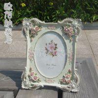 7吋淡黄色玫瑰花田园树脂工艺品欧式相框相架新奇特厂家一手货源