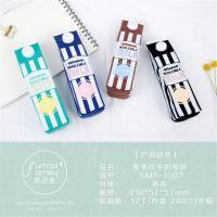 小马百货 韩国文具批发 简约竖条纹牛奶笔袋 铅笔袋