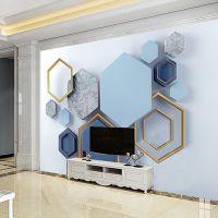 瓷砖电视背景墙艺术几何简约现代石材岗石电视背景墙瓷砖客厅墙壁