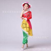 藏族女款舞蹈演出服万物生单肩表演服少数民族舞台服藏袍服装