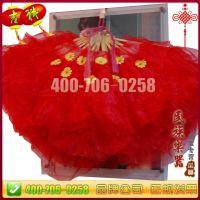 秧歌舞扇子 三层纱扇 秧歌扇 1.2尺舞蹈扇子 大红纱扇