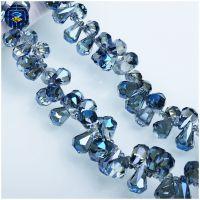 新款平底水滴珠 DIY手工饰品古风发饰配件 水晶吊坠玻璃散珠