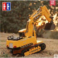 双鹰无线遥控车挖掘机大方向盘工程车挖机儿童挖土机玩具车男孩