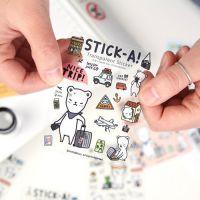 韩国 可爱搞怪表情呆萌小熊 日记手账本 PVC透明装饰贴纸 8款