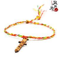 饰品 随身桃木剑五色绳手链 五色线手串 手工编织手绳