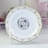 唐山瓷亿美 批发陶瓷餐具 太阳岛餐厅家用汤盘骨瓷8寸饭盘 礼品碗盘碟定制