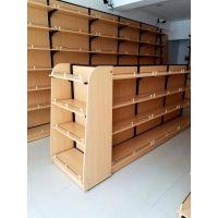 钢木货架木质展架精品超市展柜便利店高柜钢木结合边柜中岛货架