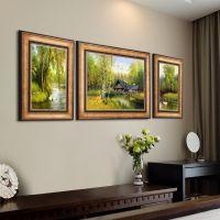 欧式客厅装饰画沙发背景墙壁画大气美式三联挂画山水田园乡村风景