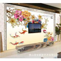 艺术瓷砖背景墙、中式简约彩雕电视背景墙雕刻幻彩平安富贵壁画