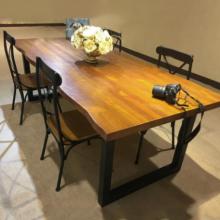 高档实木餐桌自然边大方桌定做,各式异形餐桌三角形方桌会议分享桌定制
