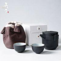 粗陶旅行功夫茶具简易便携包快客杯一壶二杯户外茶壶过滤茶杯套装