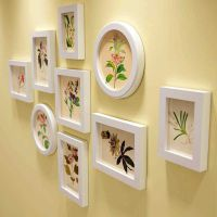 九宫格原木圆形相框挂墙组合简约小画框创意韩式相册相架装裱像框