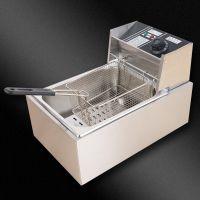 包邮商用单缸电炸锅炸薯条家用小电油炸锅不锈钢单缸双缸电炸炉薯