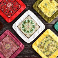 新中式复古真丝隔热垫 多用途桌垫置物垫