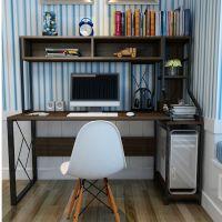 简易家用电脑桌台式桌子卧室简约学生写字台书柜书桌书架组合一体