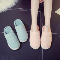 棉拖鞋简约大方韩版家居家情侣拖鞋 冬季羽绒布室内男女棉拖批发