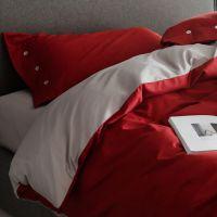 60支长绒棉床上用品结婚红灰纯色四纯棉全棉件套床单床笠新款包邮