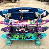 儿童新款四轮滑板闪光防滑手提鱼板青少年单翘滑板小鱼板手提滑板