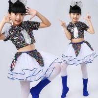 六一舞演出服女幼儿园舞蹈表演服装啦啦操亮片蓬蓬裙儿童