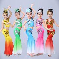 儿童傣族舞蹈服孔雀舞演出服装女童少儿傣族鱼尾裙傣族舞长裙