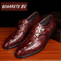 BOGARETE BV2018夏季新款真皮男鞋休闲皮鞋鳄鱼纹牛皮男皮鞋尖头