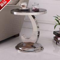玻璃小圆形茶几电话小桌子不锈钢沙发边几 时尚创意字母小茶几