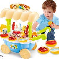 贝比谷烧烤车过家家女孩小推车儿童男孩迷你烧烤车玩具仿真餐具