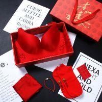 个性妇女中国红女红属狗本命年内衣套装女 无钢圈狗年防下垂潮流