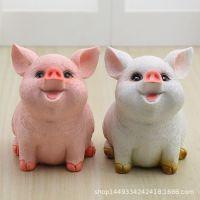 可爱只进不出小猪储蓄罐树脂工艺迷你小猪小摆件学生礼品