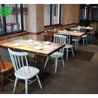 欧式餐厅西餐中餐结合主题 复古风实木餐桌餐椅 音乐餐吧餐桌椅子订制