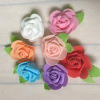 批发新款带叶瑰花头 婚庆花球门拱插花  仿真PE泡沫塑料玫瑰花