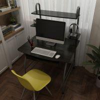电脑桌台式简易钢木书桌家用书架组合简约现代网红桌经济型电脑台