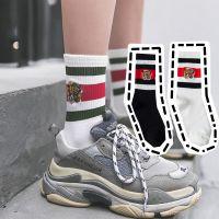 秋冬新品 潮袜双g家同款精致虎头刺绣中筒袜子女条纹堆堆袜纯棉袜