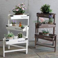 室内阳台客厅美式花店花卉实木多层花架子多肉梯形落地式置物