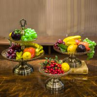 欧式创意双层水果盘美式装饰品客厅家居用品水晶玻璃果盆高档摆件