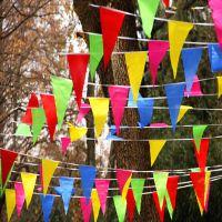 小号三角串旗 婚庆结婚串旗生日派对小彩旗幼儿园喜庆 彩色三角旗