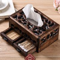 一件代发实木多功能纸巾盒复古 客厅抽纸盒抽木 纸巾盒创意家用餐